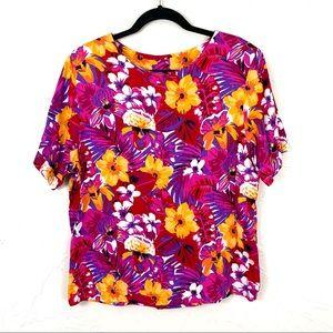 Vintage Short Sleeve Pink Tropical Floral Blouse